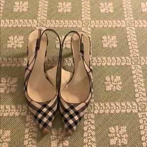 Burberry plaid slingback heel
